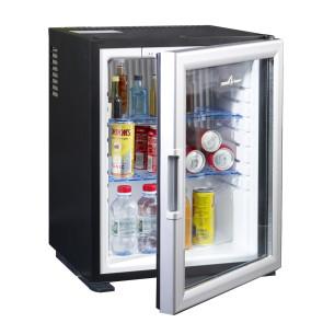 Mini bar Peltier porte vitrée  40 litres entrouvert